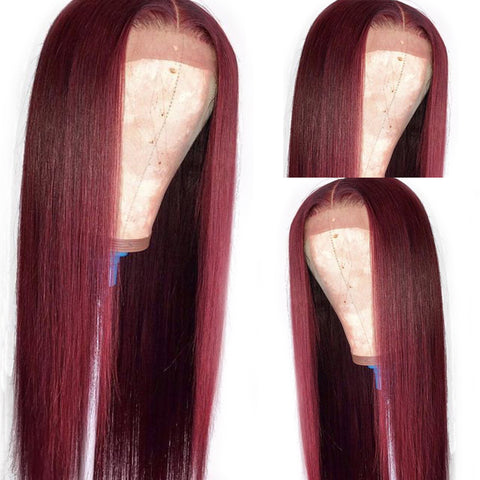 Dark Red Color Curly Wigs Lace Frontal Wigs Brazilian Front Human Hair Wigs 99J Colored Ombre for Women