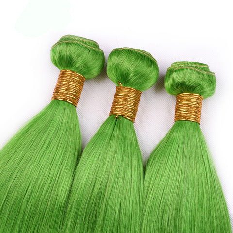 Green Hair 3 Bundles With Lace Frontal Closure 100% Remy Human Hair Brazilian Hair Straight