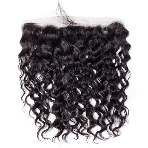Brazilian Water Wave Human Hair 3/4 Bundles With HD Swiss Lace 13x4 Frontal Closure With Bundles Ear To Ear Lace Frontal Remy Hair