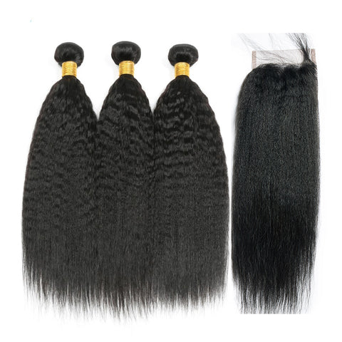 Peruvian Kinky Straight Hair 3 Bundles With 4*4 Closure 100% Remy Human Hair Extension 3 Bundles With Closure Weave Bundles