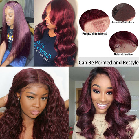 99J Colored body wave Lace Front Wigs Brazilian Human Hair Dark Red Color