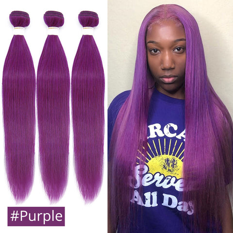 Red Bule Purple Color Straight Brazilian Human Hair Weave Bundles 10 to 30 Inch Remy Human Hair Extensions 3/4 PCS