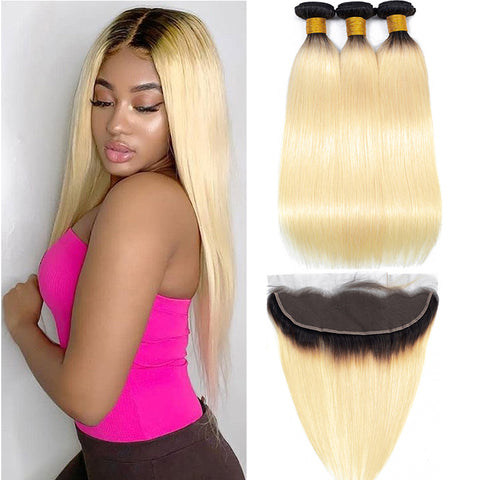 1B 613 Bundles With Frontal Brazilian Straight Remy Human Hair Dark Roots Honey Blonde Bundles With Frontal Closure