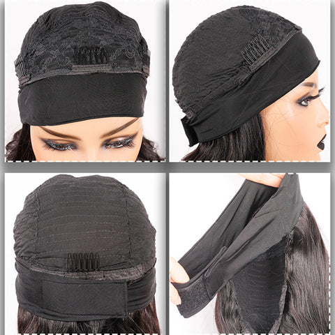 Kinky Curly Headband Wig Human Hair Glueless Scarf Wig Brazilian 130% 150% 180% Density