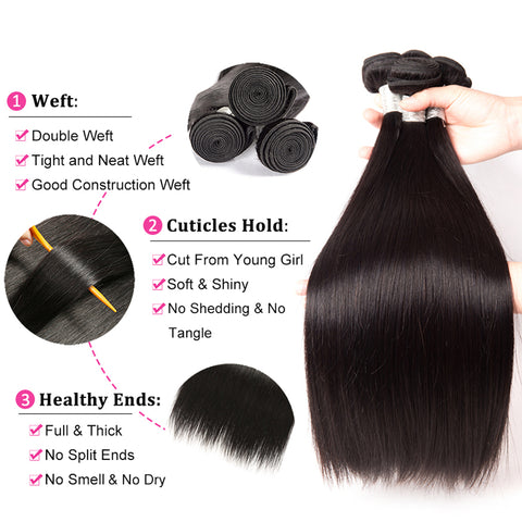 28 30 Inch Straight Human Hair Bundles With swiss brown lace Frontal Brazilian Remy Hair Pre Plucked 13x4 Lace Frontal With Bundles
