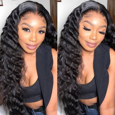 Deep Wave HD Swiss Lace Front Wigs For Black Women Brazilian Natural Color Remy Human Hair Glueless Wigs 150% Density Invisible lace