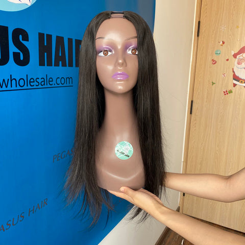 U Part Wig Human Hair Brazilian Straight Wig Hair 100% Remy Full Machine Made Human Hair Wigs  Glueless  Free Shipping