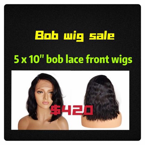 "5 x 10"" Bob Wigs Deal Lace Front Wigs 150% density Baby Hair swiss lace Wigs For Black Women Pre Plucked Peruvian Remy Hair"