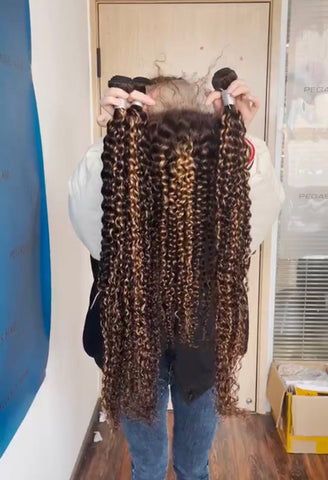 Highlight Ombre Hair Bundles With Frontal Closure Curly Weave Brazilian 4-27 Brown