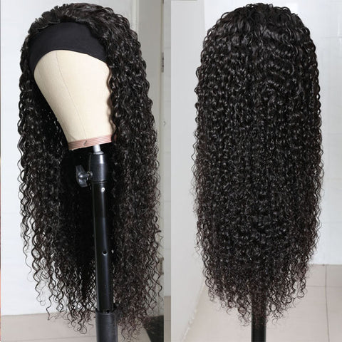 curly Headband Wig Human Hair Wigs For Women Glueless Scarf Wig Brazilian Remy Hair With 180% Density