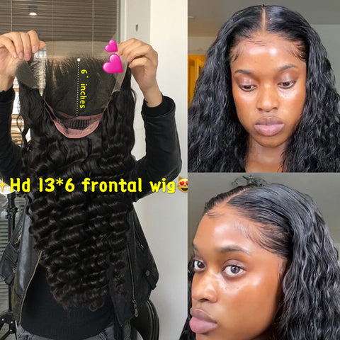 "HD Swiss Lace Frontal Wigs 13x6""  150% 180% Density Wavy deep wave Lace Front Wig Human Hair Remy Brazilian"