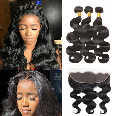 HD Swiss Lace Frontal with Bundles Body Wave Brazilian Human Hair Bundles with Frontal Invisible lace