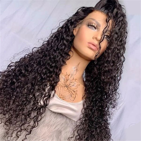 13x6 Transparent Lace Frontal Wigs 150% 180 Density Curly Lace Front Wig Brazilian Curly Human Hair 6x6 lace closure Wigs