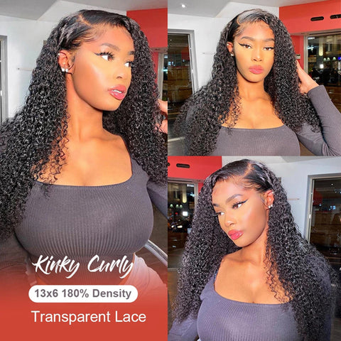 13x6 Transparent Lace Frontal Wigs 150% 180 Density Kinky Curly Lace Front Wig Brazilian Kinky Curly Human Hair 6x6 lace closure Wigs