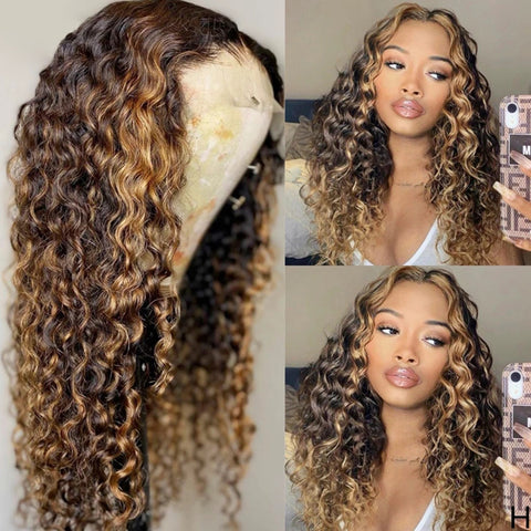 13x4 13x6 Lace Front Human Hair Wigs Highlight Ombre Curly Brazilian Remy Hair 150% 180% Density HD transparent lace Lace Wigs 4 27 color