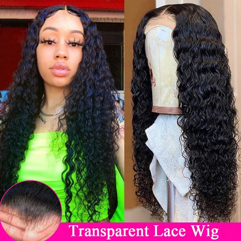 Transparent Lace Wig Deep Wave Lace Front Human Hair Wigs 150% 180% Density Lace Frontal Closure Wig 4x4 5x5 13x4 Human Hair
