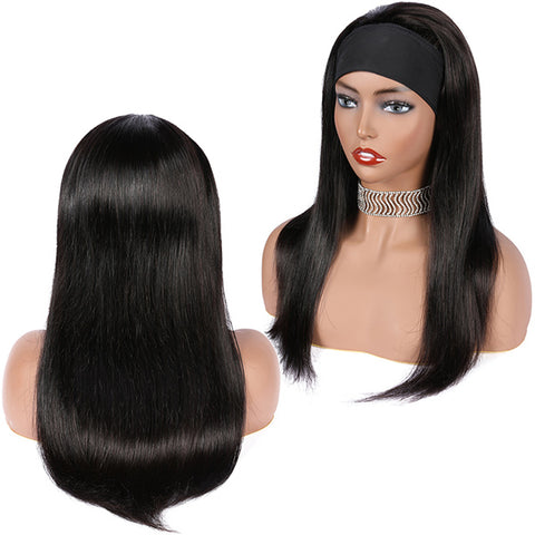 Straight Headband Wig Human Hair Wigs For Women Glueless Scarf Wig Brazilian Remy Hair With 130% 150% 180% Density