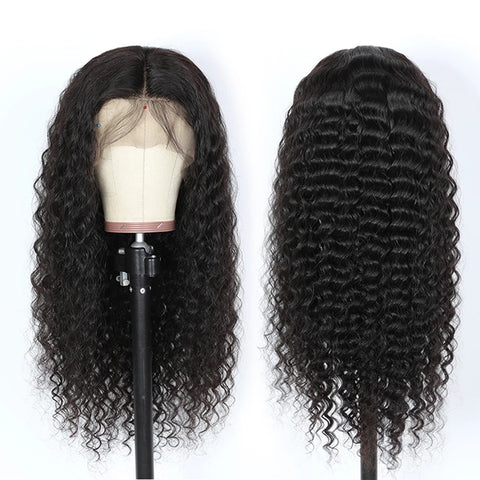 13x6 Transparent Lace Frontal Wigs 150% 180 Density Deep Wave Lace Front Wig Brazilian  Deep Wave Human Hair 6x6 lace closure Wigs