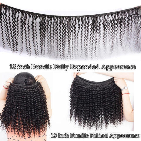 Deep Wave Human Hair Bundles With 13X6  Transparent Lace Frontal Brazilian Remy Hair Pre Plucked