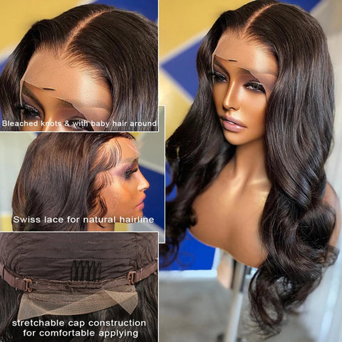 13x6 Transparent Lace Frontal Wigs 150% 180 Density Body Wave Lace Front Wig Brazilian Body Wave Human Hair 6x6 lace closure Wigs