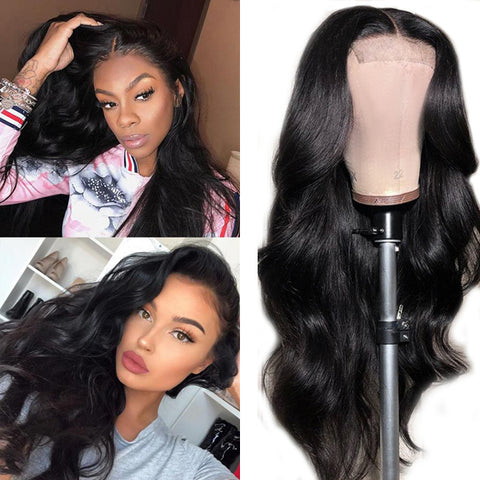 4x4 Lace Closure Wigs Human Hair Brazilian Body Wave Lace Wigs for Black Women Pre Plucked with Baby Hair 180% 150% Density - Pegasus wig