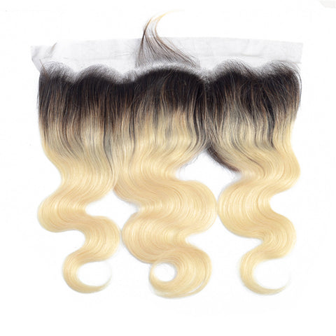 1B 613 Bundles with Frontal Brazilian Body Wave Remy Human Hair Dark Roots Russian Honey Blonde Bundles With Frontal