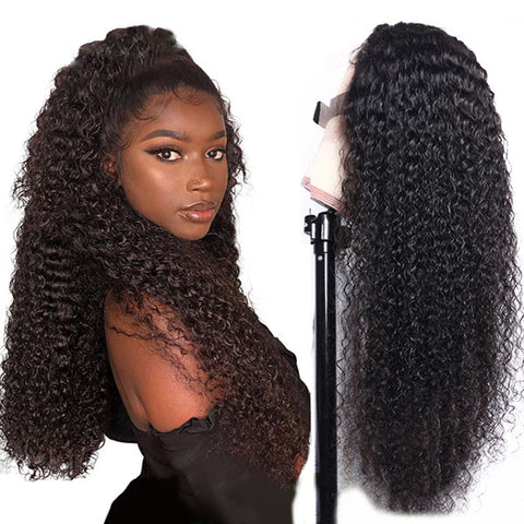 Lace Closure Wig Brazilian Kinky Curly Wigs Pre Plucked Culry Human Hair Lace Wigs for Women 4x4 Lace Closure Wig 180% 150% Density - Pegasus wig