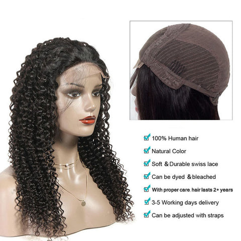 Lace Closure Wig Brazilian Kinky Curly Wigs Pre Plucked Culry Human Hair Lace Wigs for Women 4x4 Lace Closure Wig 180% 150% Density - Pegasus wig With proper care, hair lasts 2+ years at least