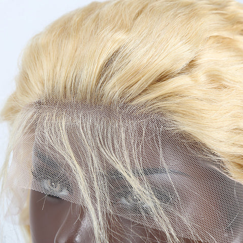 613 Blonde 13x4 Lace Frontal Wig Transparent Lace Curly Human Hair