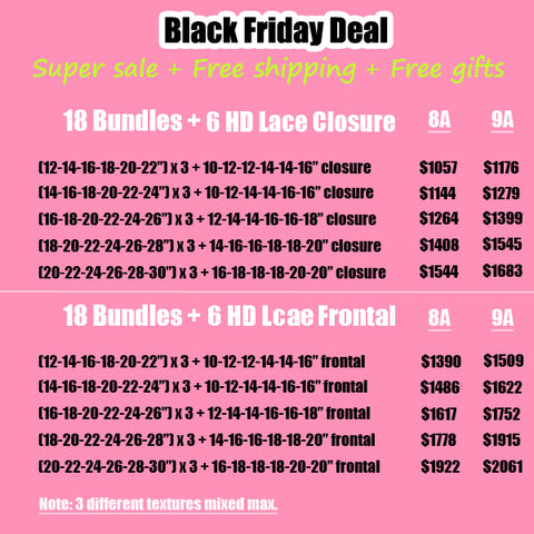 Black Friday deal HD swiss lace frontal closure with bundles human hair