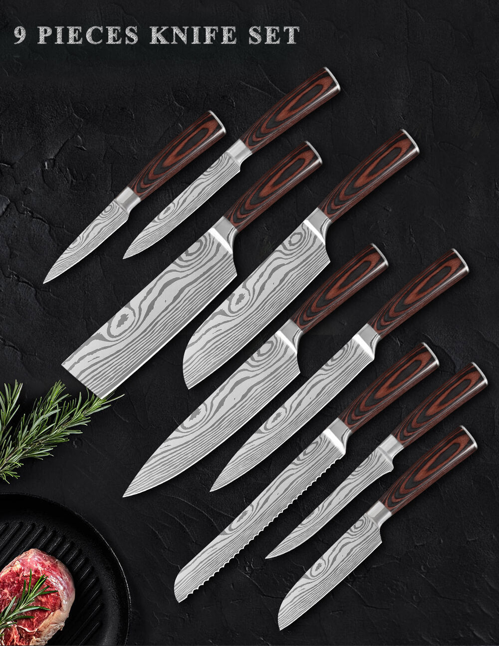 9-Piece Chef Knife Set 7CR17Mov Stainless Steel With Sheath