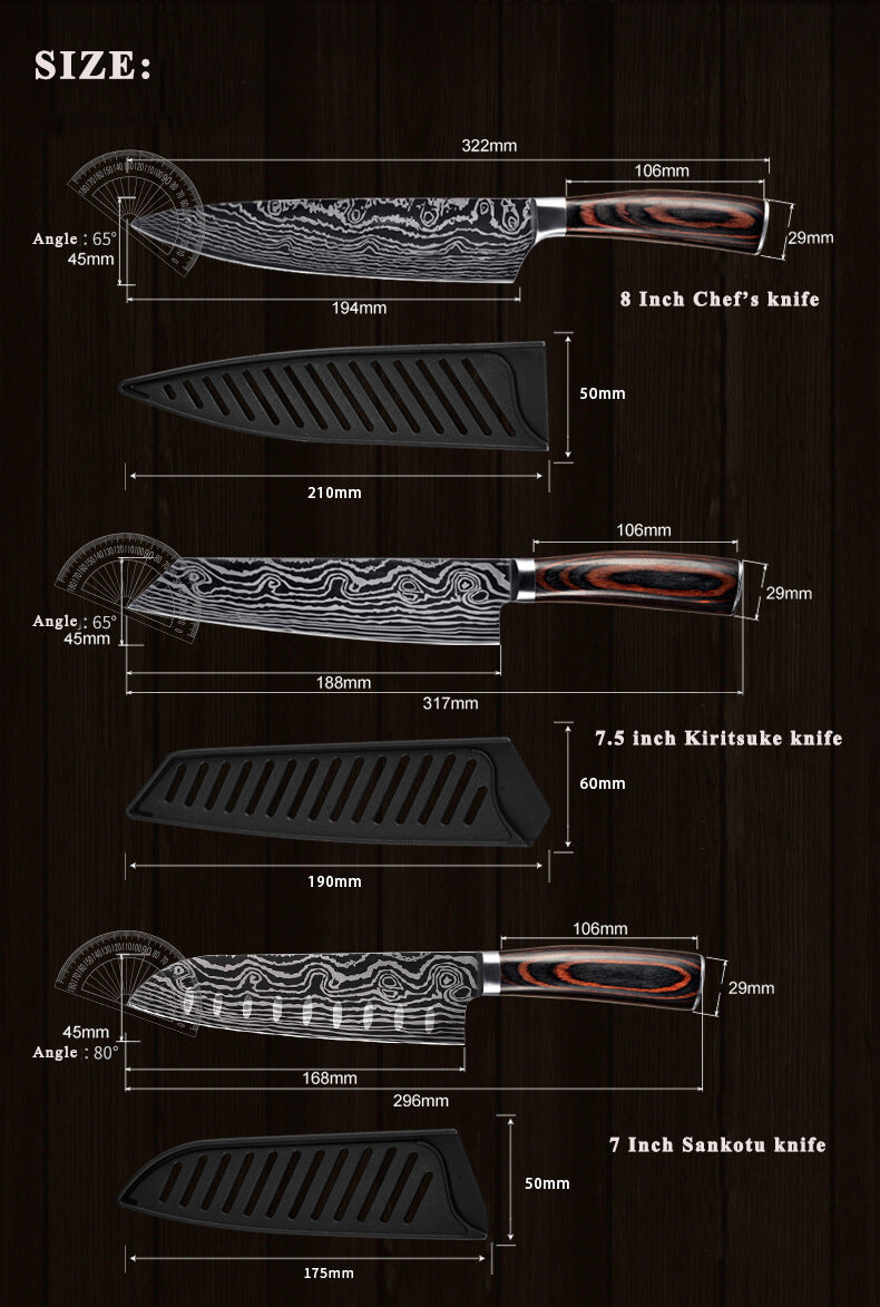 Professional Japanese Chef Knives Set