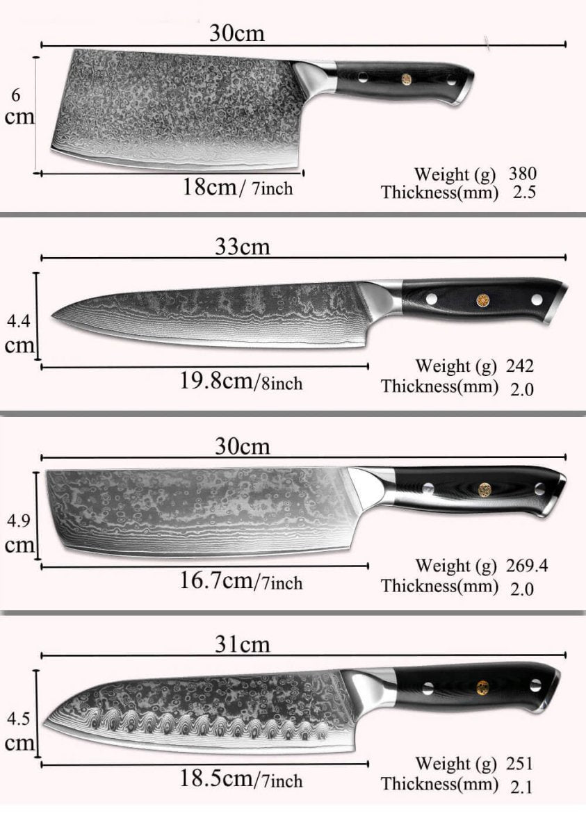 Japanese Damascus Chef Knives, 67-layer Damascus with VG10 Super Steel Core