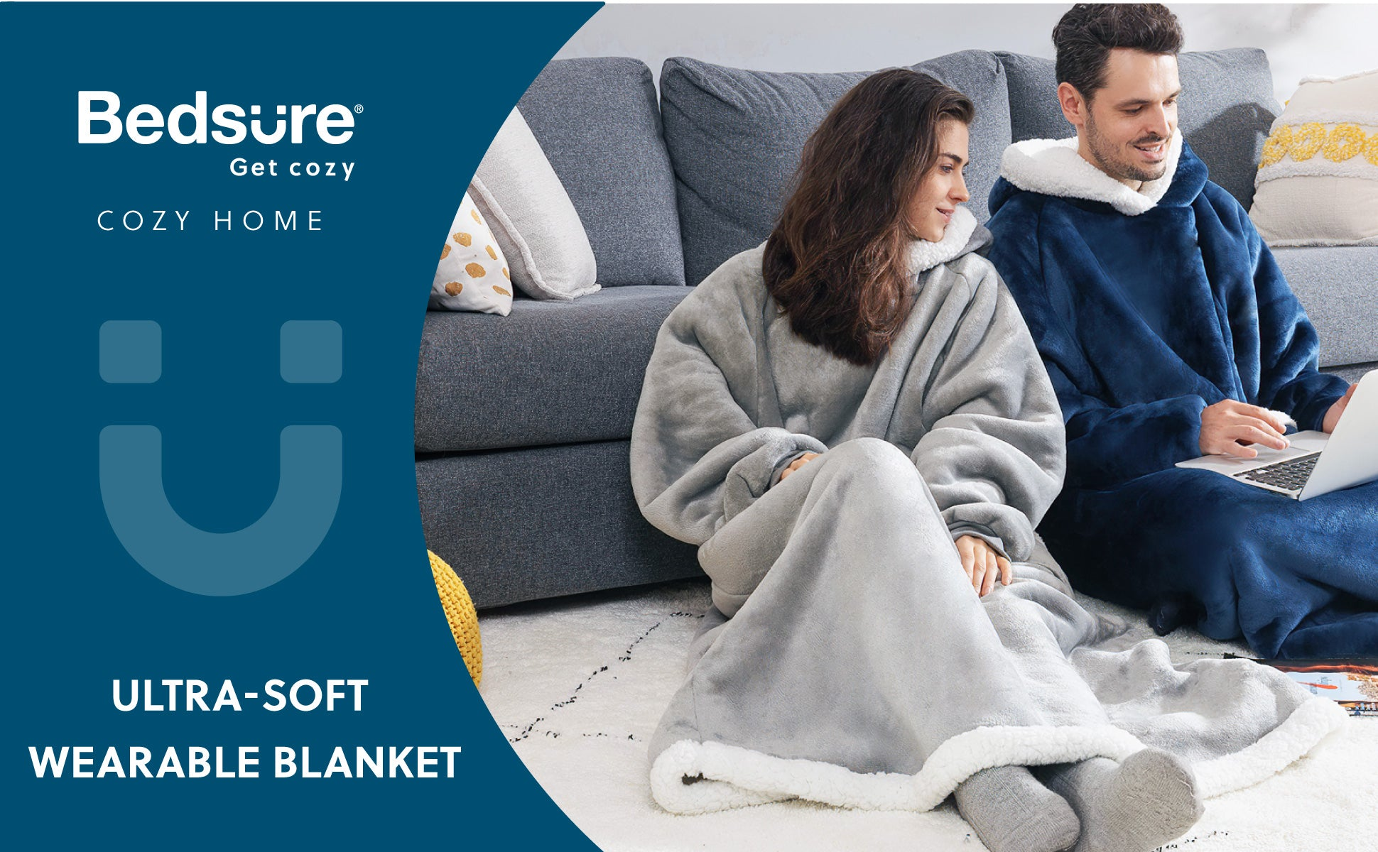 Bedsure Long Wearable Blanket , Sherpa Blanket Hooded , Oversize Blanket Sweatshirt with Deep Pockets and Sleeves for Adults, Grey 1