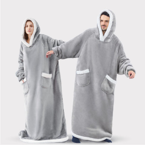 Bedsure Long Wearable Blanket , Sherpa Blanket Hooded , Oversize Blanket Sweatshirt with Deep Pockets and Sleeves for Adults, Grey 3