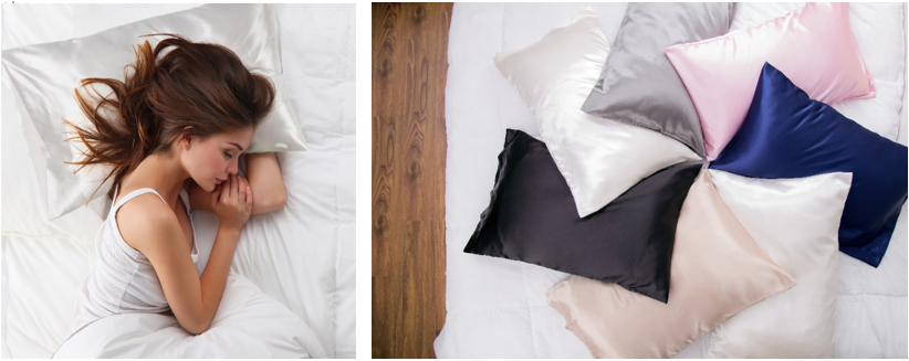 A woman sleep with Bedsure's Satin white Pillowcase and also other colors