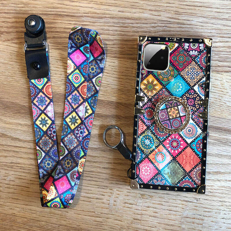 Boho phone case with lanyard and ring