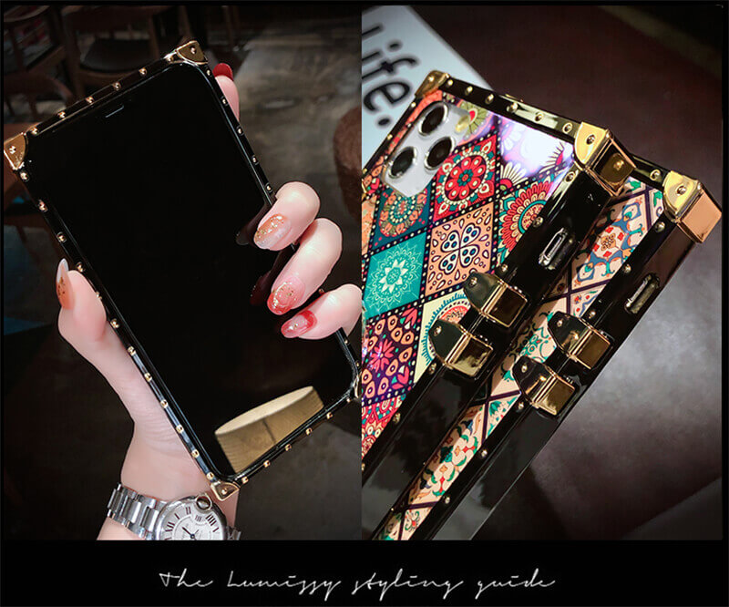 The front of the bohemian retro phone case