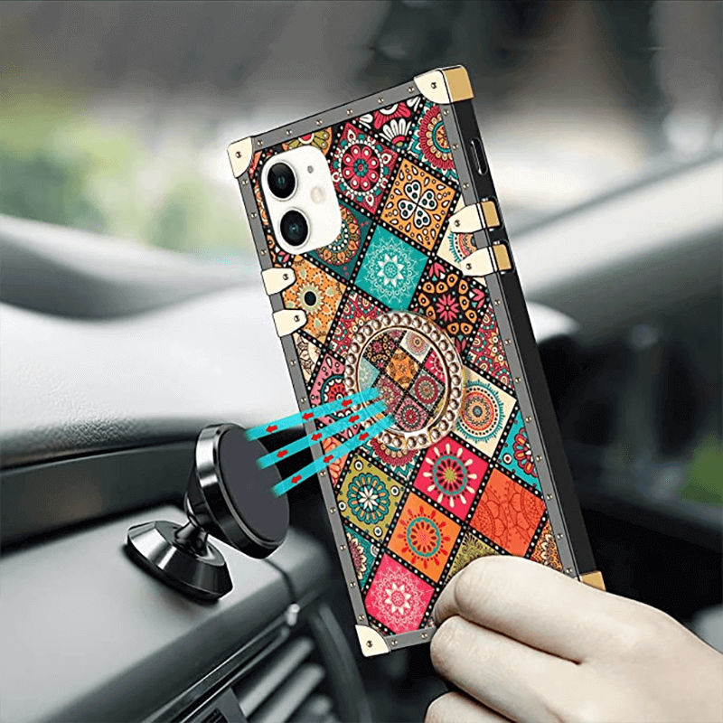 High-quality bohemian-style iPhone case supports magnetic attraction function