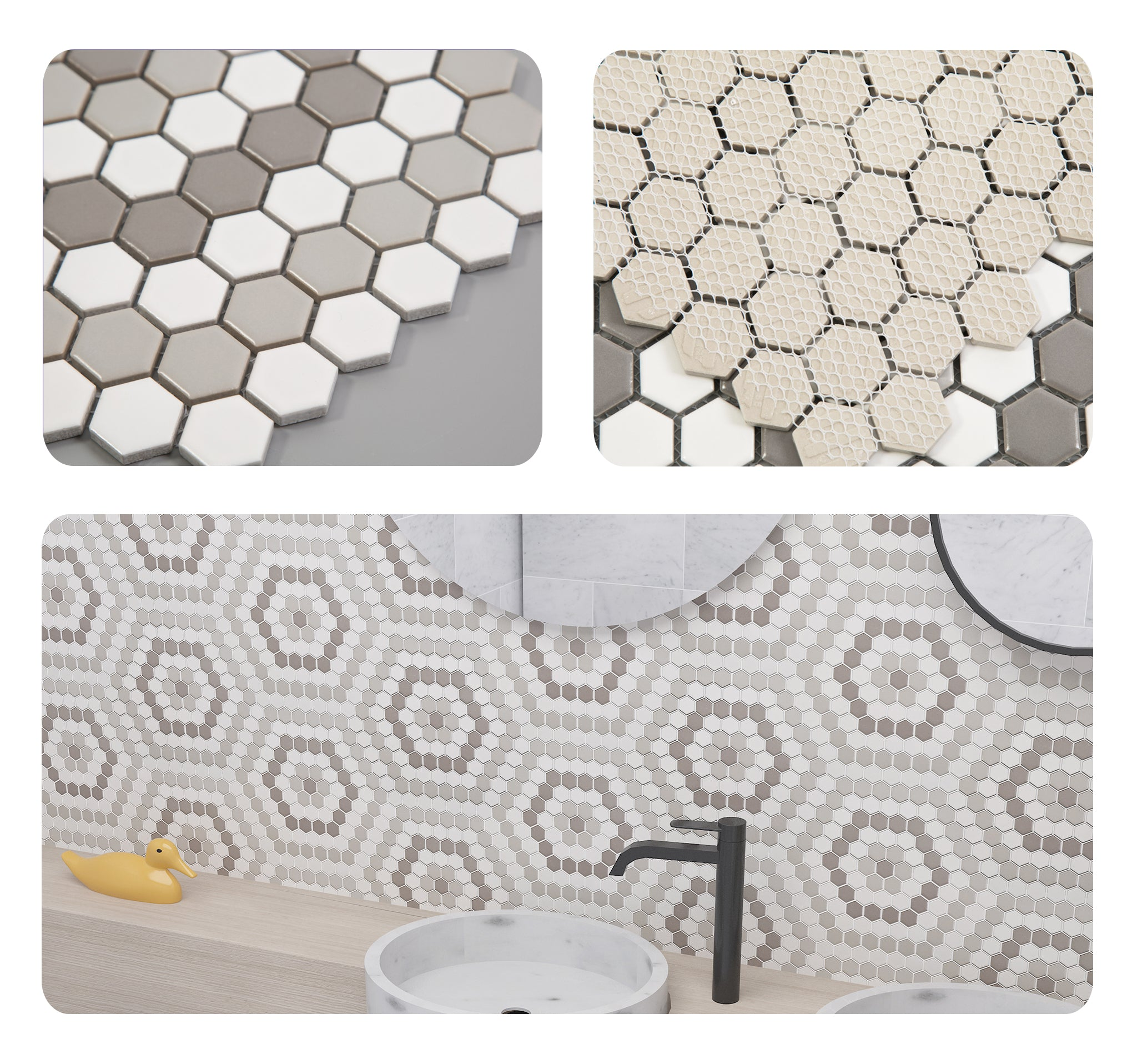 Ceramic 25mm Diamond Mosaic Tile