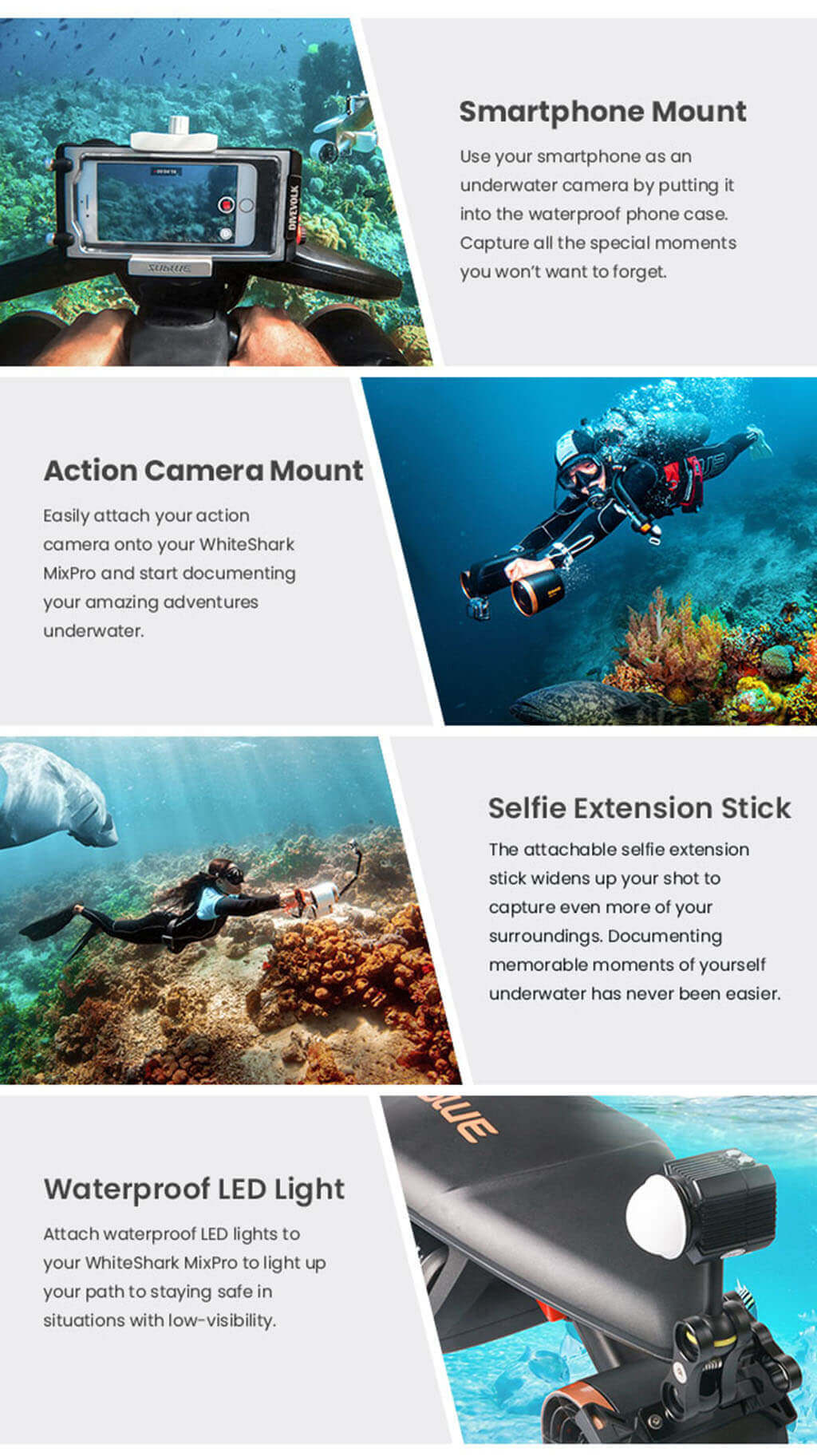 Sublue WhiteShark MixPro Underwater Scooter product functions