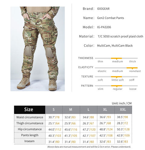 IDOGEAR Tactical G2 Pants Trousers with Knee Pads -MultiCam