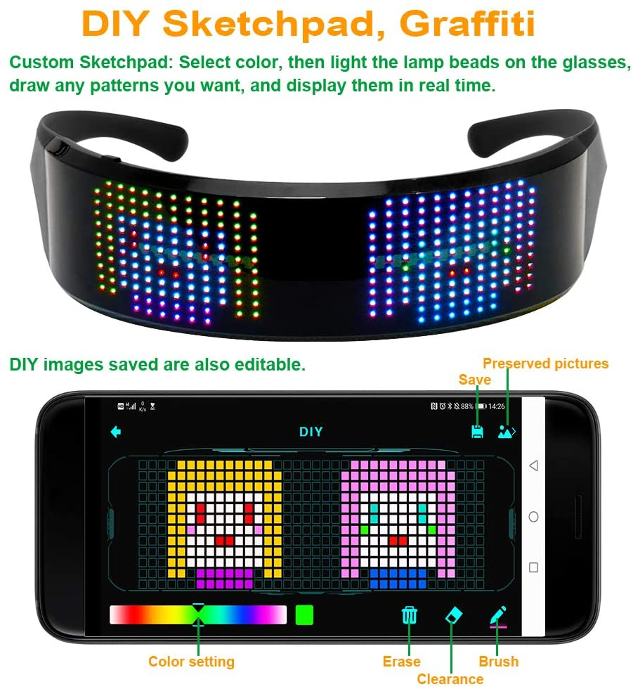 led programmable glasses