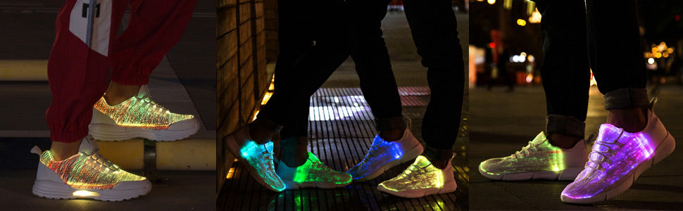 Leadleds Fiber Optic LED Shoes Light Up Sneakers with USB Charging Flashing Luminous Shoes