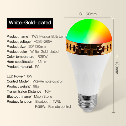 Couplet Remote Control Bluetooth Music RGBW LED Bulb