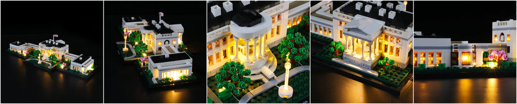 white house lego set with lights