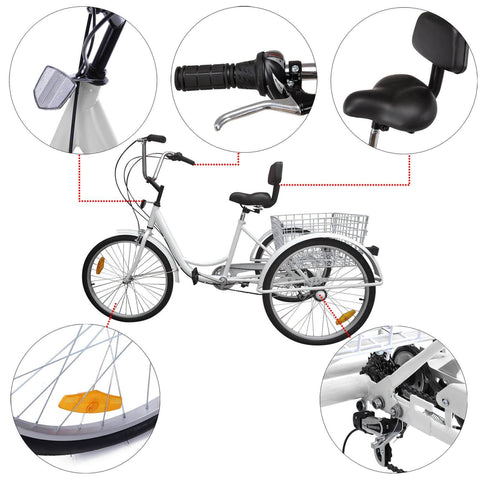 "7-Speed 24"" Bike Adult 3-Wheel Bicycle Tricycle Cruise With Basket White"
