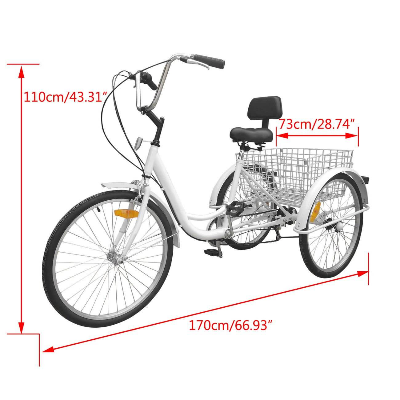 """7-Speed 24"""" Bike Adult 3-Wheel Bicycle Tricycle Cruise With Basket White"""