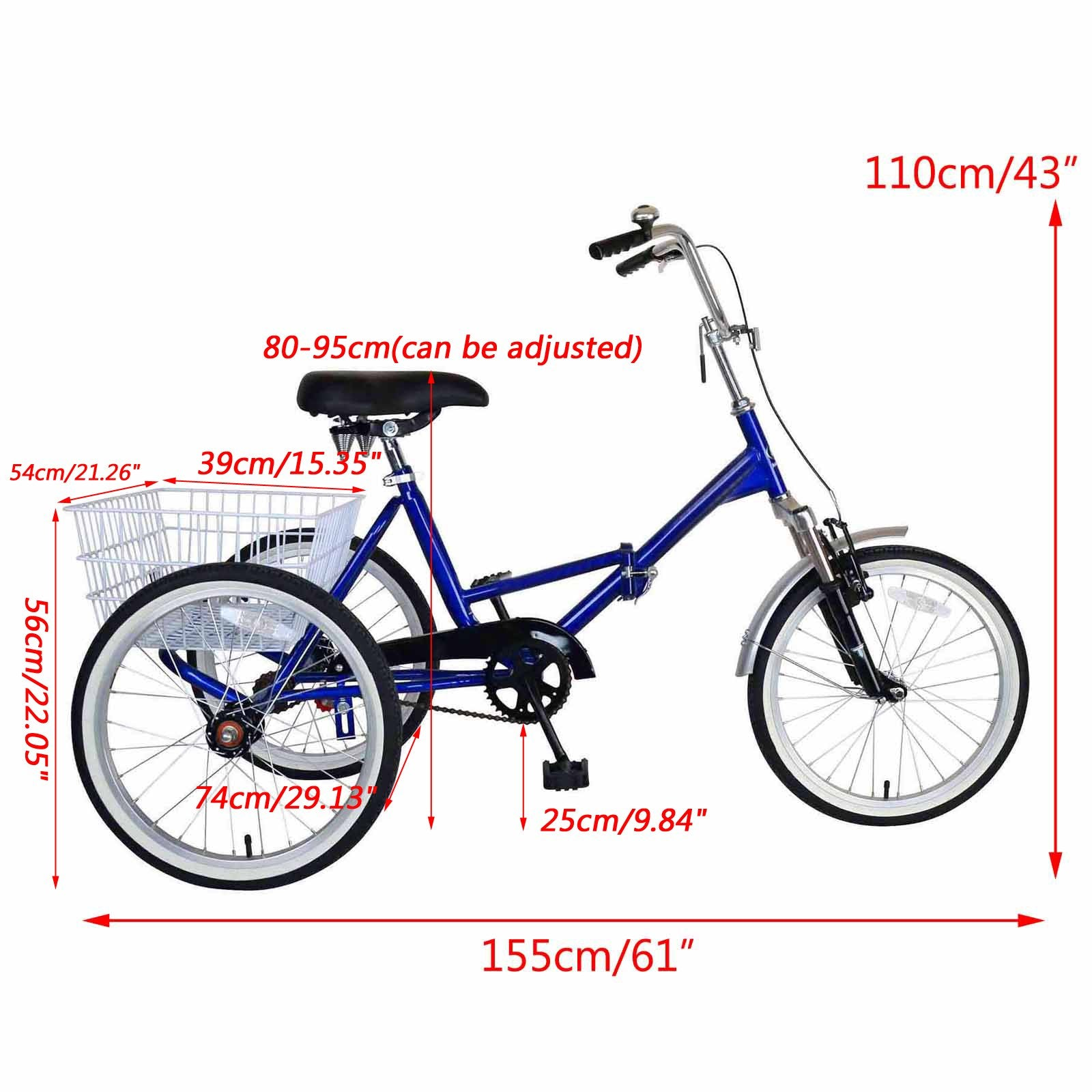 20'' Folding Tricycle Bike 3 Wheeler Bicycle Portable Tricycle