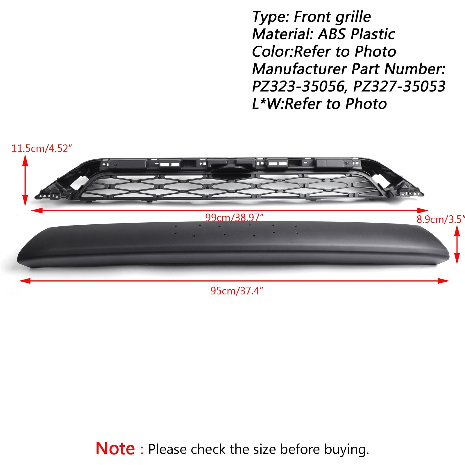 4Runner TRD PRO 2014-2019 Toyota 2 Piece Front Bumper Grill Replacement Grille Generic